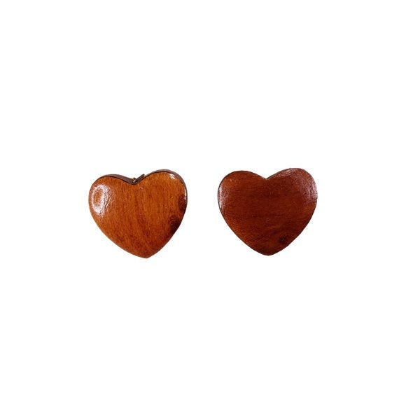 Redwood Earrings - Heart Wood Earrings - California Redwood Stud Earrings - Redwood Burl