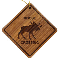 Moose Crossing Ornament - Moose Ornament - Wood Ornament Handmade in USA