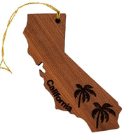 California State Shape Christmas Ornament Palm Trees Laser Cut Handmade Wood Ornament Made in USA