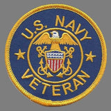 "US Navy Veteran Patch Iron On Country Pride Patch United States Veteran US Military Patch Blue Circle Yellow Border 3"" Eagle"