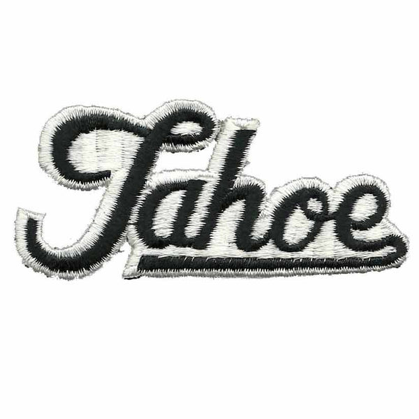 Tahoe Patch – Script Black on White – Travel Patch Iron On – California Souvenir Patch – CA Embellishment Spell out Font Spellout Nevada NV