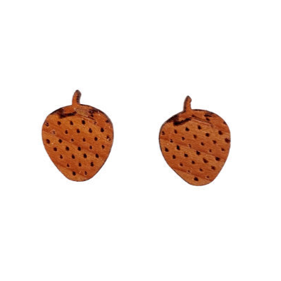Strawberry Earrings - Wood Earrings - California Redwood Stud Earrings - Post Earrings - Strawberry Lover - Fun Earrings