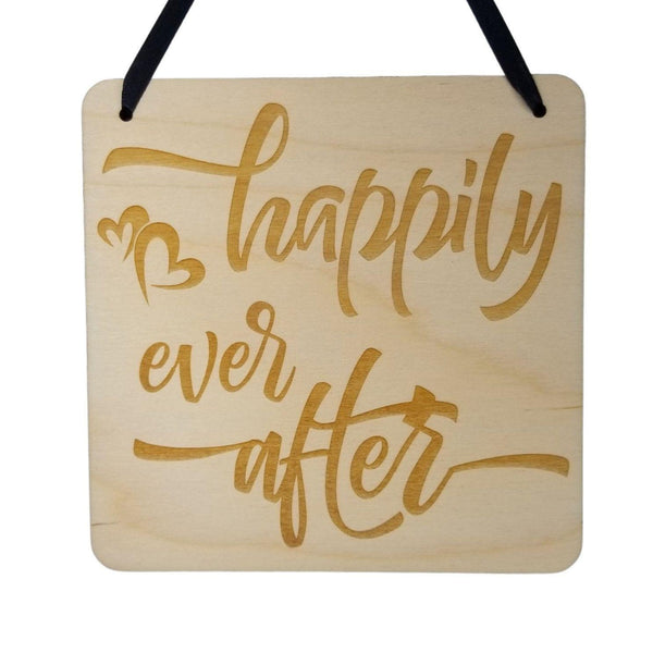 Love Sign - Valentines Day Gift - Happily Ever After Rustic Hanging Wall Sign - Love Plaque Gift Sign Inspirational 5.5""