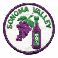 Sonoma Valley Iron On Patch – California Wine Souvenir – Travel Patch – CA Iron On Circle 3″