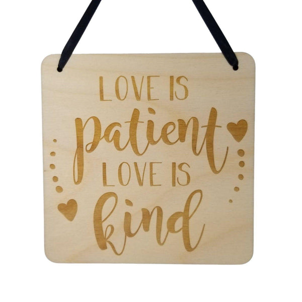"Love Sign - Valentines Day Gift - Love Is Patient Love Is Kind Rustic Hanging Wall Sign - Love Plaque Gift Sign Wedding Decor 5.5"" Scripture"