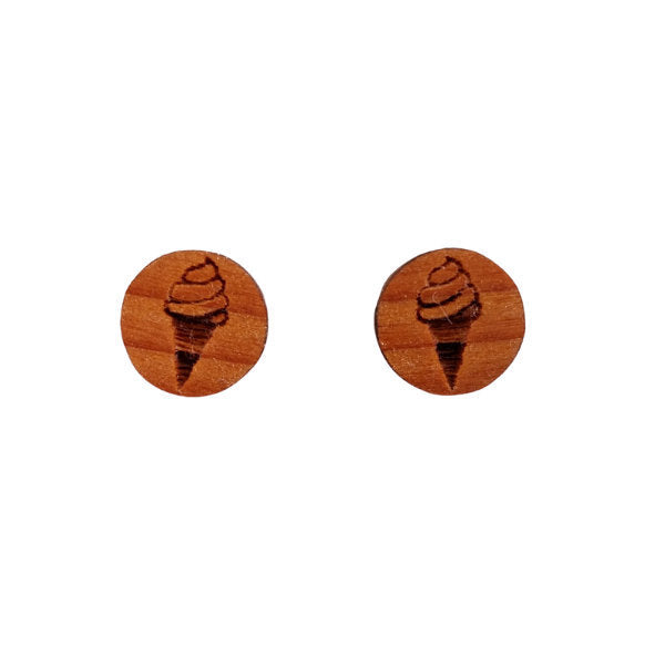 Ice Cream Cone Earrings - Wood Earrings - California Redwood Stud Earrings