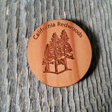 3 Trees Oval Wood Refrigerator Magnet Made in USA California Redwood Handmade Souvenir