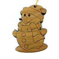 Snowman Christmas Ornament Wood Ornament California Redwoods Laser Cut Handmade Made in USA Collector Housewarming