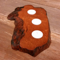 Wood Candle Holder 3 Tealight Redwood Rustic Home Decor #1