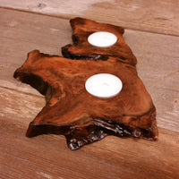 Wood Candle Holder 2 Tealight Redwood Rustic Home Decor #3
