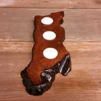 Wood Candle Holder 3 Tealight Redwood Rustic Home Decor #5