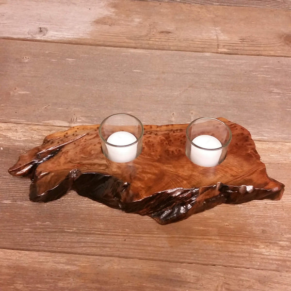 Rustic Redwood Wood Candle Holder 2 Glass Votive Handmade Home Decor 5th Anniversary Christmas Gift #V