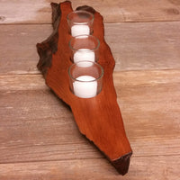 Wood Candle Holder California Redwood Rustic Home Decor 3 Votive Handmade Wood #A4 Wedding Gift