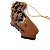 Yosemite National Park California State Shape Souvenir Christmas Ornament California Redwood Laser Cut Handmade Wood Ornament Made in USA