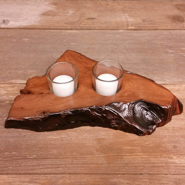 Wood Candle Holder 2 Votive Handmade 5th Anniversary #Y Rustic Home Decor Unique Gift Redwood
