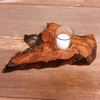 Wood Votive Candle Holder Rustic Decor Handmade Housewarming Gift #A1 California Redwood Single Candle
