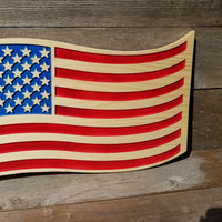 Wavy American Flag Carved Wood Sign USA Patriotism