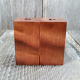 Salt and Pepper Shakers Wood Curly Handmade Redwood Square Set USA Made #2