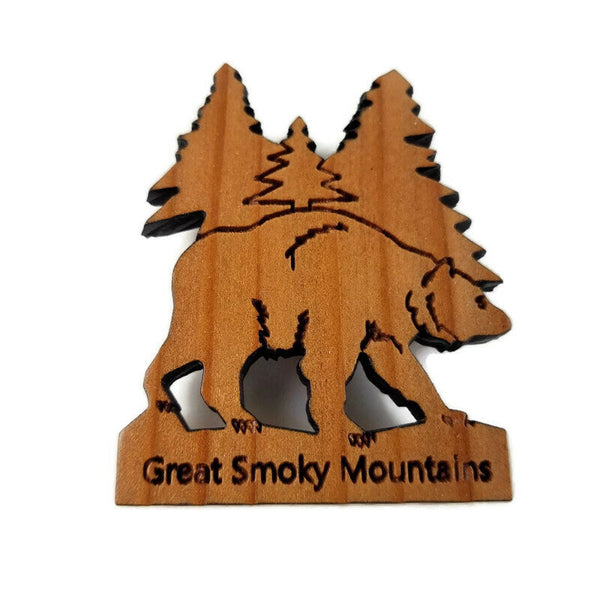 Great Smoky Mountains Bear and Trees Wood Refrigerator Magnet Made in USA California Redwood Handmade Souvenir