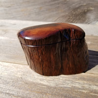 Wood Ring Box Rustic Handmade California Redwood #240