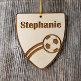 Soccer Ball Ornament, Sports Ornament, Soccer Player Gift, Engraved Wood Ornament, Personalized Wood Tag Made in USA