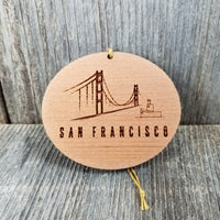 San Francisco California Golden Gate Bridge Christmas Ornament In the Fog Handmade Wood Tug Boat