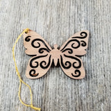 Butterfly Christmas Ornament Wood Ornament California Redwood Laser Cut Handmade Made in USA Collector Housewarming Red Wood