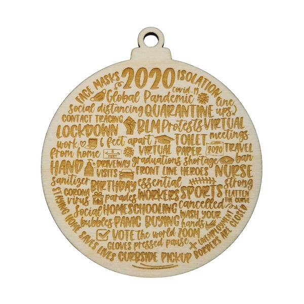 Lot of 10 Remembering 2020 Ornaments - Covid Ornament - Handmade Wood Ornament Christmas Ornament Pandemic Quarantine Commemorative 2020