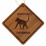 Baboon Crossing Ornament - Baboon Ornament - Wood Ornament Handmade in USA