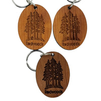 Redwood Trees Grove Wood Keychain California Redwood Souvenir Travel Gift