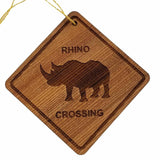 Rhino Crossing Ornament - Rhinoceros Ornament - Wood Ornament Handmade in USA