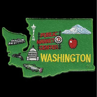 Washington Patch – WA State Shape - Washington Souvenir – Washington Map Travel Patch