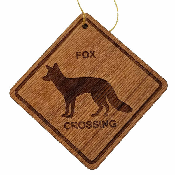 Fox Crossing Ornament - Fox Ornament - Wood Ornament Handmade in USA