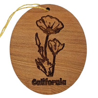 California Poppy Christmas Ornament - Poppies - CA State Flower Handmade Wood Memento Souvenir - Travel Gift - California Redwood