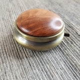 Redwood Pill Box 3 Sections Handmade Top California Burl Antique Bronze #283