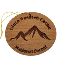 Uinta Wasatch Cache National Forest Mountains Ornament Handmade Wood Souvenir