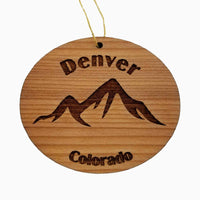 Denver Colorado Ornament Handmade Wood Ornament CO Souvenir Mountains Ski