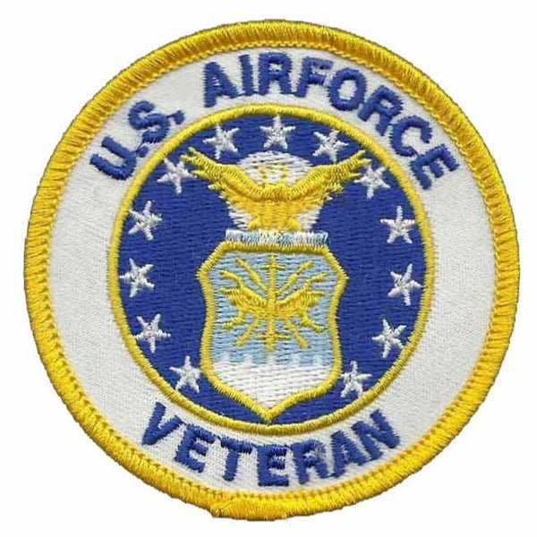 "US Air Force Veteran Patch Iron On US Military Country Pride Military Patch 3"" White Circle Yellow Border"