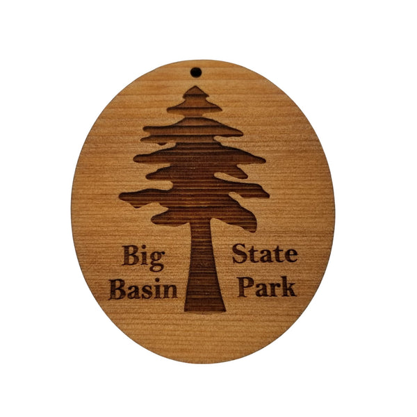 Big Basin State Park Christmas Ornament Redwood Tree Oval Laser Cut Handmade Wood Ornament Engraved Tree
