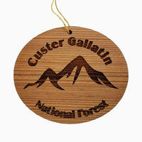 Custer Gallatin National Forest Ornament Handmade Wood Ornament MT Souvenir MT Mountains Resort Ski Skiing Skier
