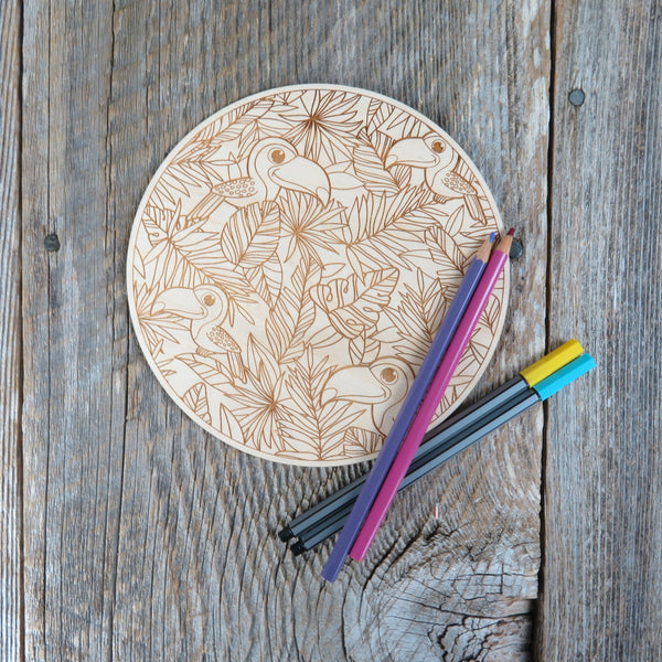 Color Your Own Wood Art - DIY - Wood - Coloring Project - Craft Supply - Adult Craft Project - Kids Crafts - Island Toucan Relaxation Gift