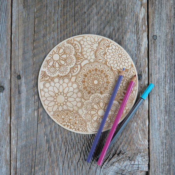 Color Your Own Wood Art - DIY - Wood Trivet - Coloring Project - Craft Supply - Adult Craft Project - Kids Crafts - Floral Relaxation Gift