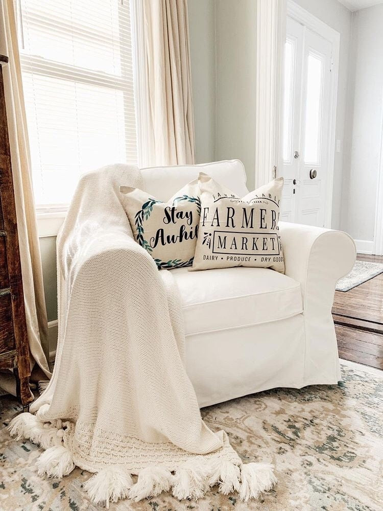Decorative Throw Pillow Cover - Great for Modern Farmhouse Living Rooms