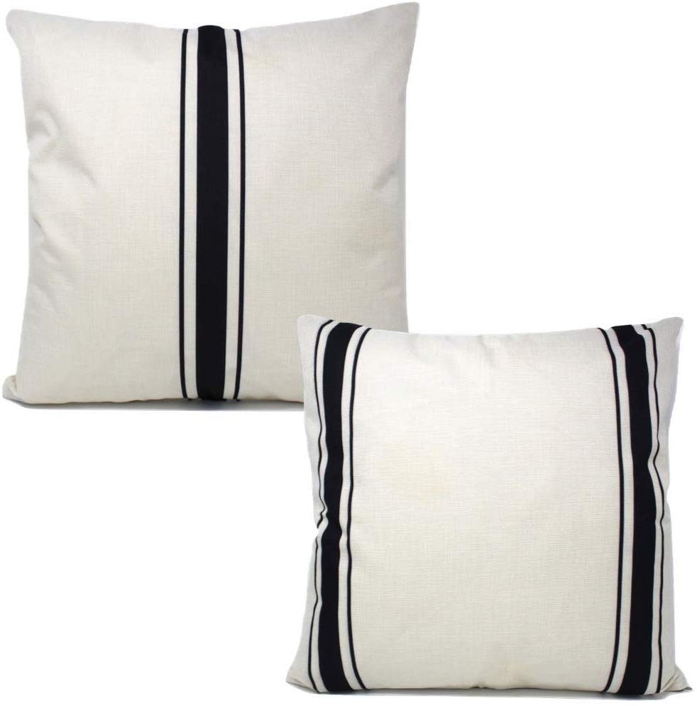 Black Grain Stripe Pillow Covers