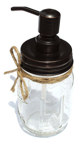 Oil-rubbed bronze mason jar soap dispenser farmhouse bathroom or kitchen decor