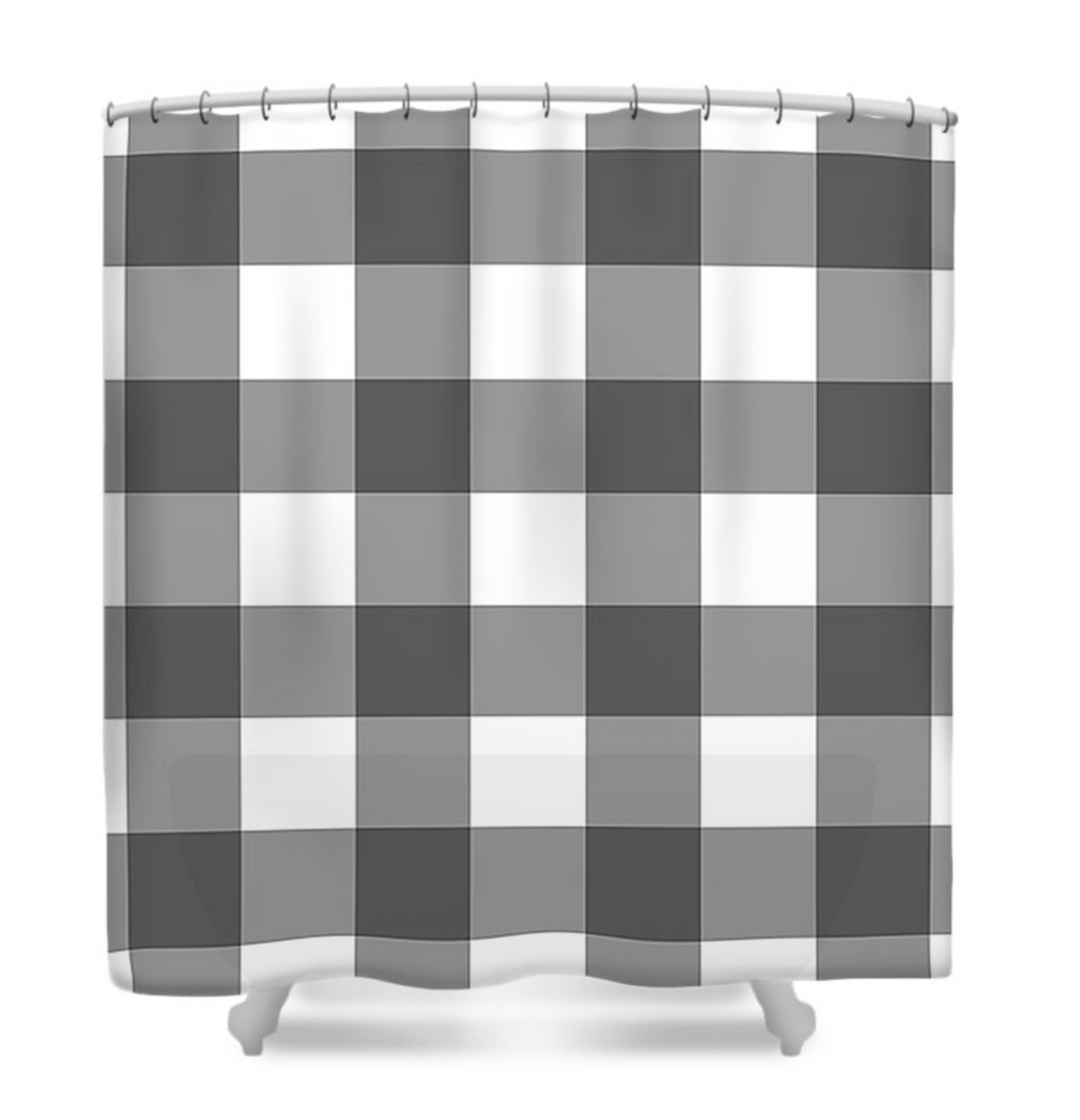 Gray/White Buffalo Plaid Shower Curtain