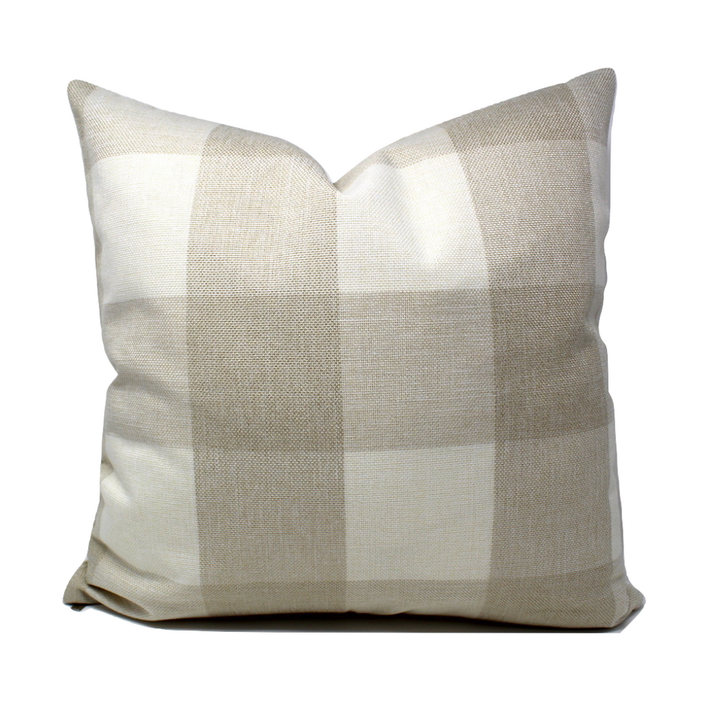 Beige Buffalo Plaid Pillow Cover