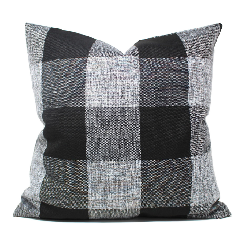 Black/Gray Buffalo Plaid Pillow Cover