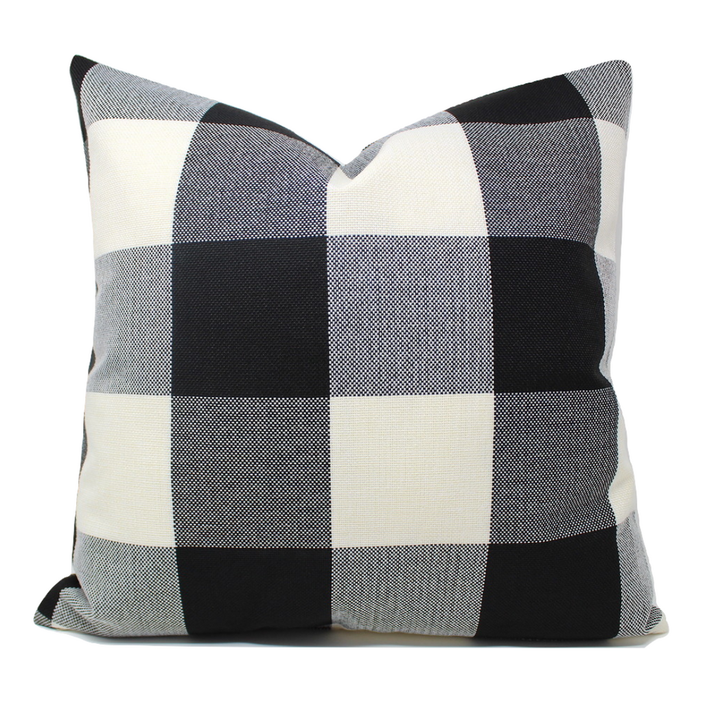Black/White Buffalo Plaid Pillow Cover