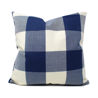 Blue Buffalo Plaid Pillow Cover